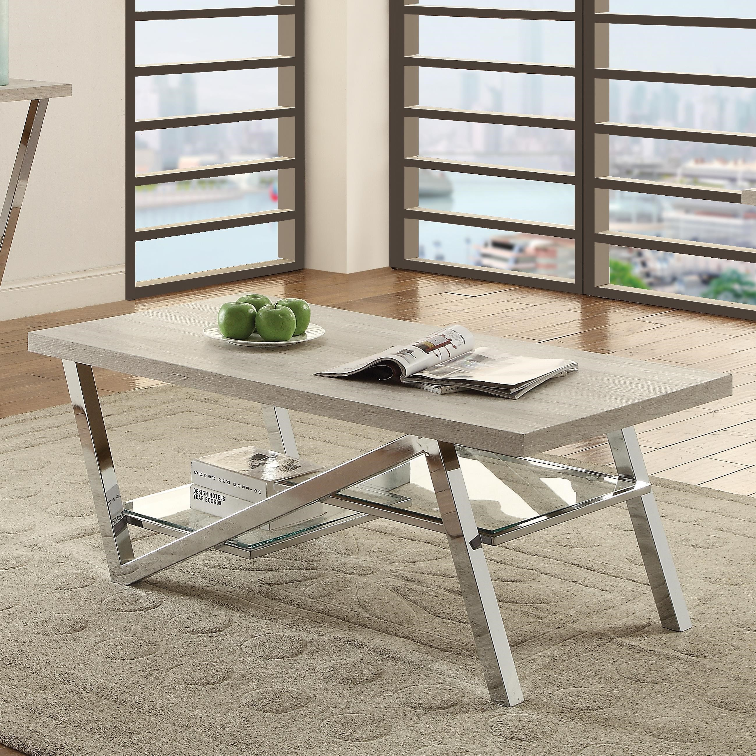 Coaster quorra contemporary coffee table with chrome legs value coaster quorra coffee table item number 720778 geotapseo Image collections