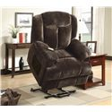 Coaster Recliners Casual Power Lift Recliner with Chocolate Colored  Velvet