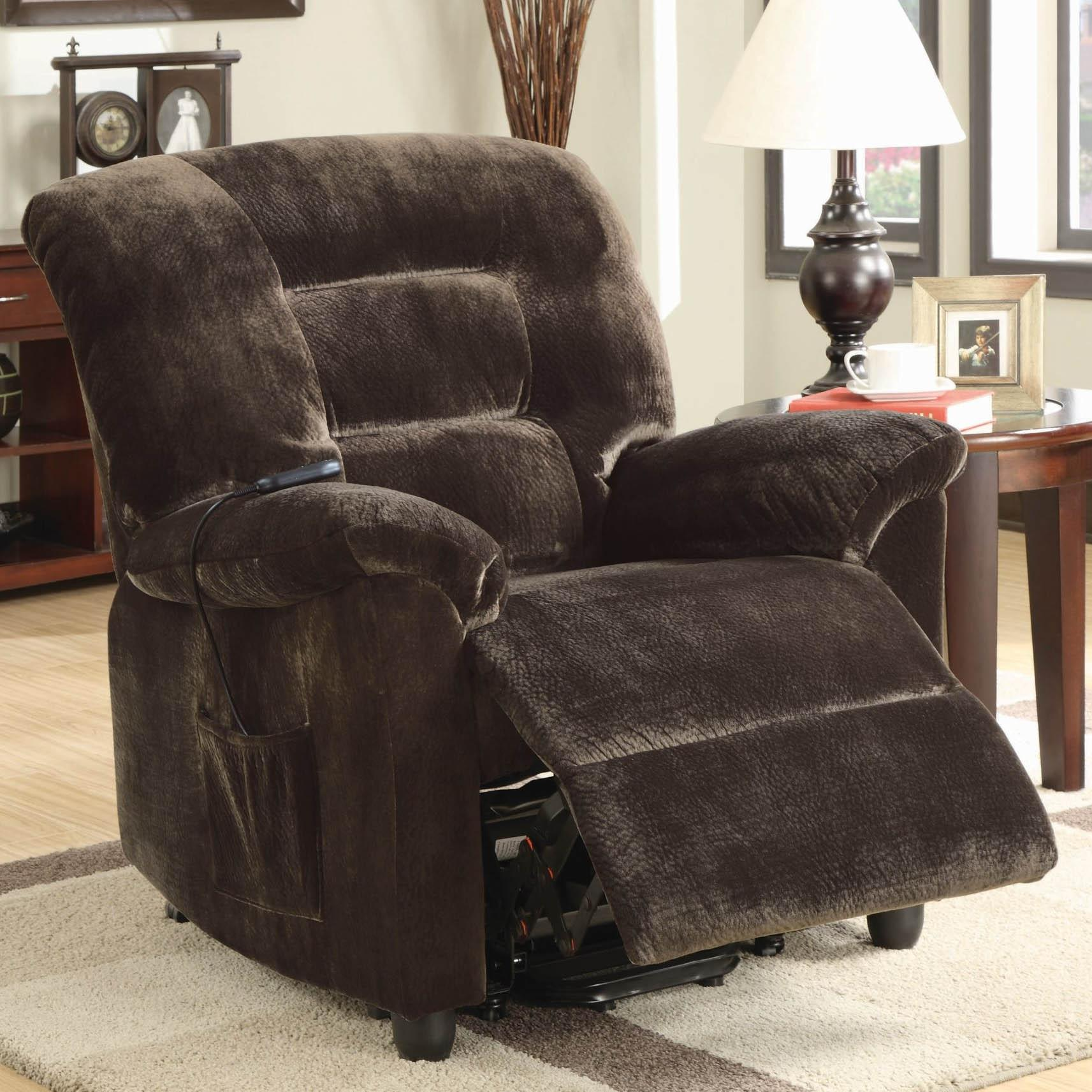 Coaster Recliners Casual Power Lift Recliner In Chocolate