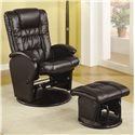 Coaster Recliners with Ottomans Casual Leather Like Glider with Matching Ottoman - Also Available in Brown