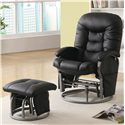 Coaster Recliners with Ottomans Casual Leatherette Glider Recliner with Matching Ottoman - 600228 - Also Available in Black
