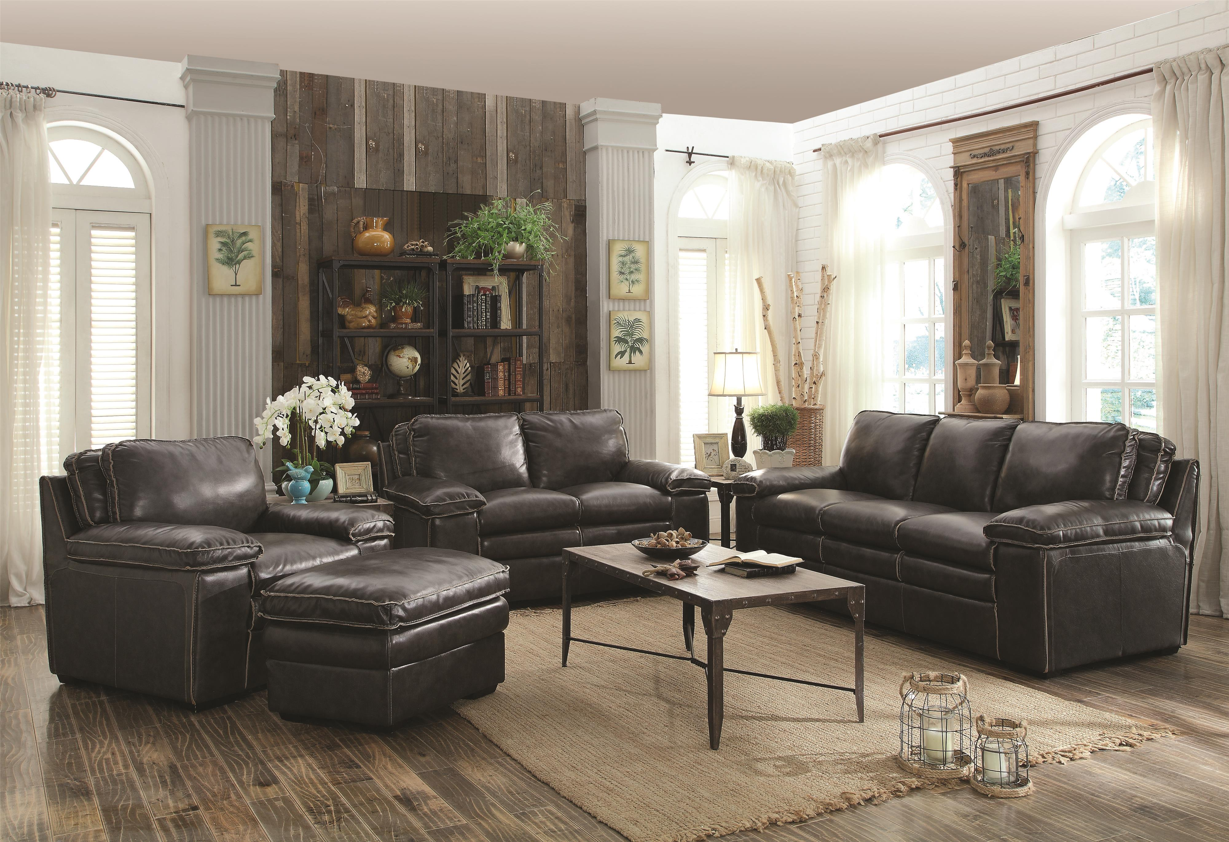 Coaster Regalvale Stationary Living Room Group - Item Number: 50584-Charcoal Living Room Group 1