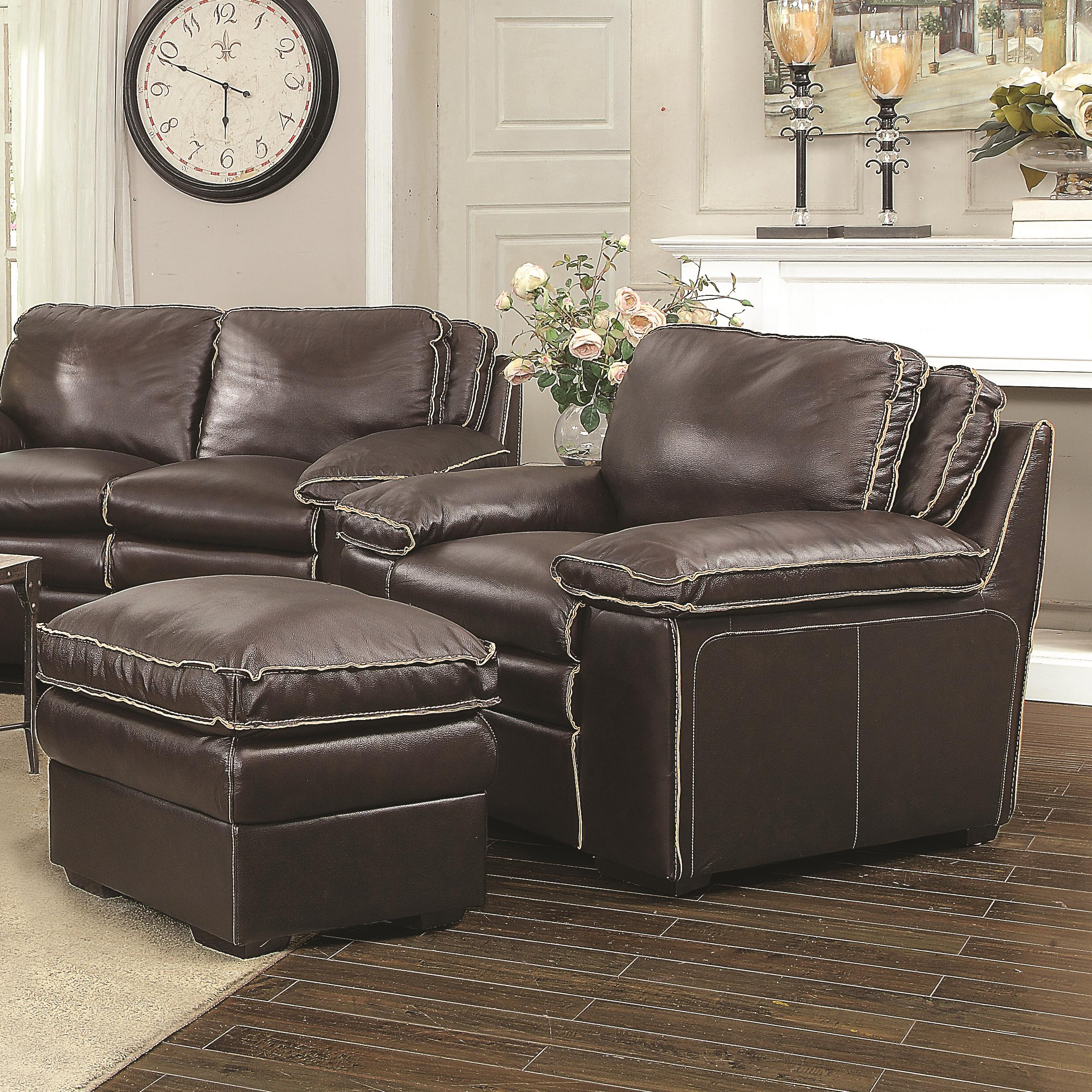 Coaster Regalvale Chair and Ottoman - Item Number: 505847+848