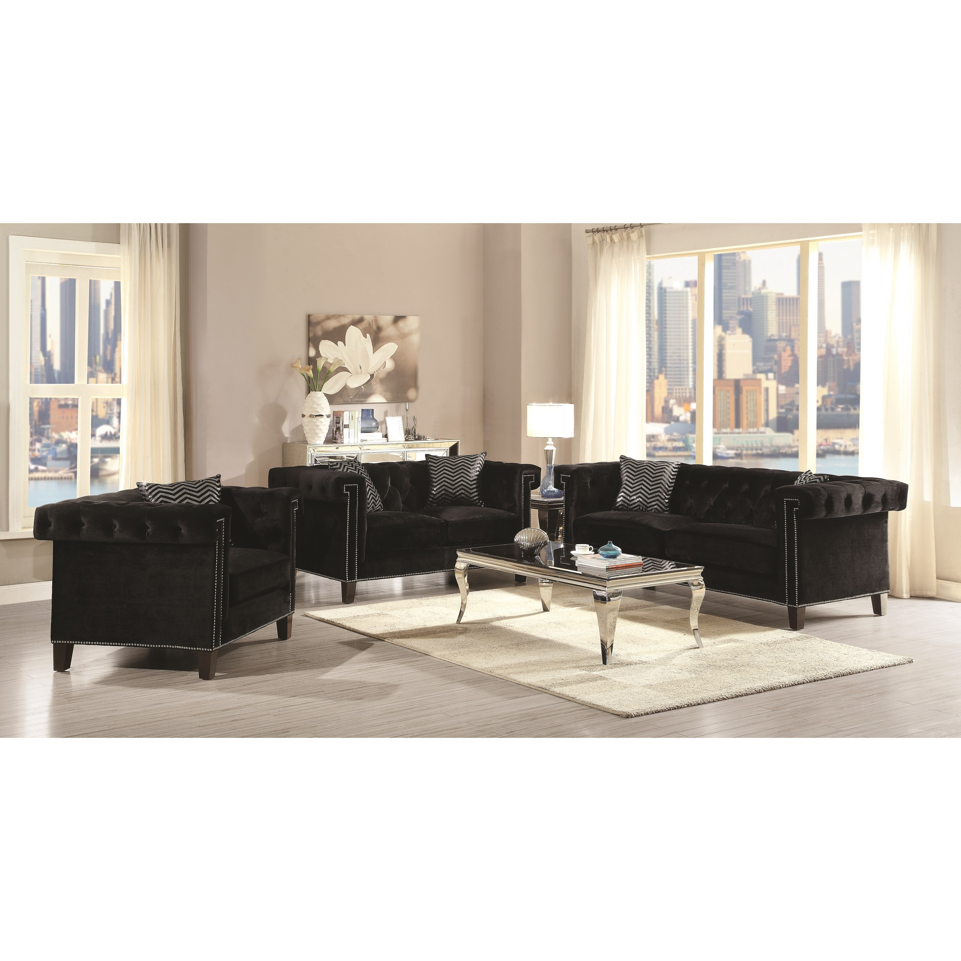 Coaster Reventlow Glamorous Living Room Group | Value City Furniture ...