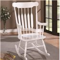 Coaster Rockers Wood Rocking Chair with White Finish and Slatted Back - 600174