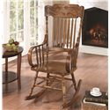 Coaster Rockers Wood Rocking Chair with Ornamental Headrest and Oak Finish - 600175