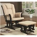 Coaster Rockers Casual Glider Rocker with Beige Upholstery and Storage Pocket - 650011