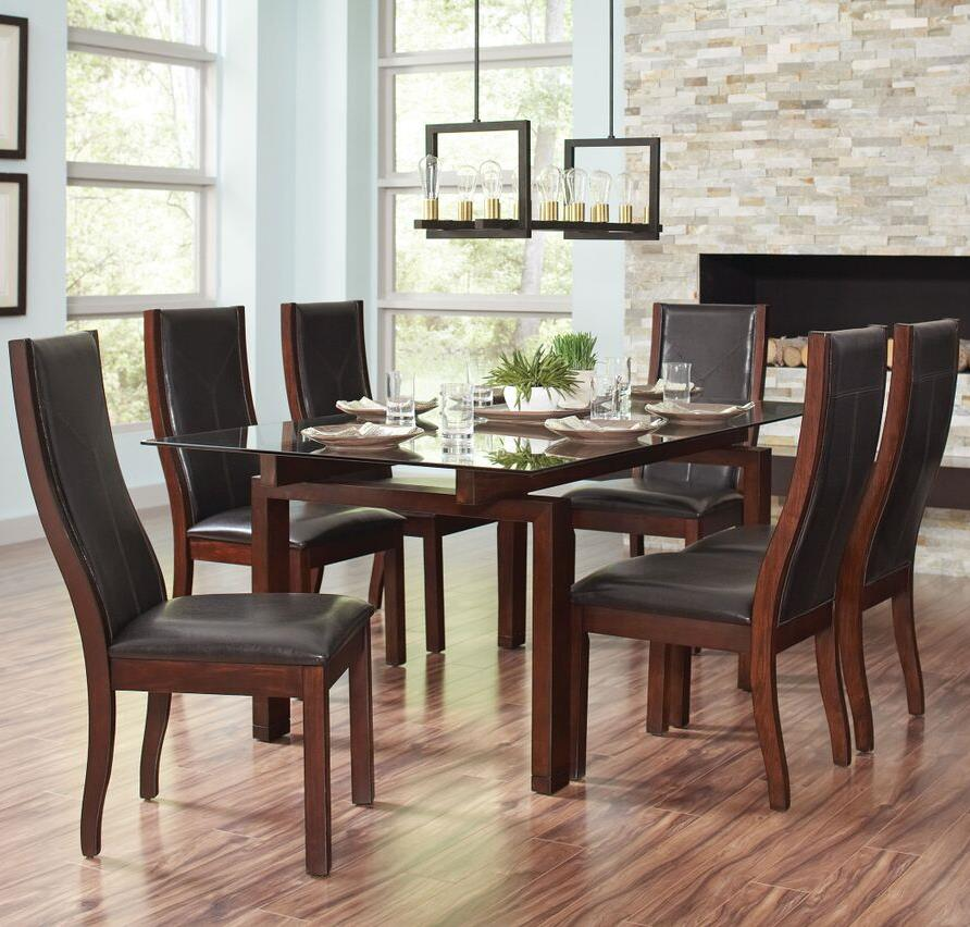 Coaster Rossine 7 Piece Glass Table & Parson Chair Set - Item Number: 106071+6x106072
