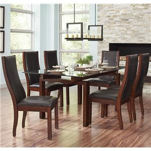 Coaster Rossine 7 Piece Glass Table & Parson Chair Set