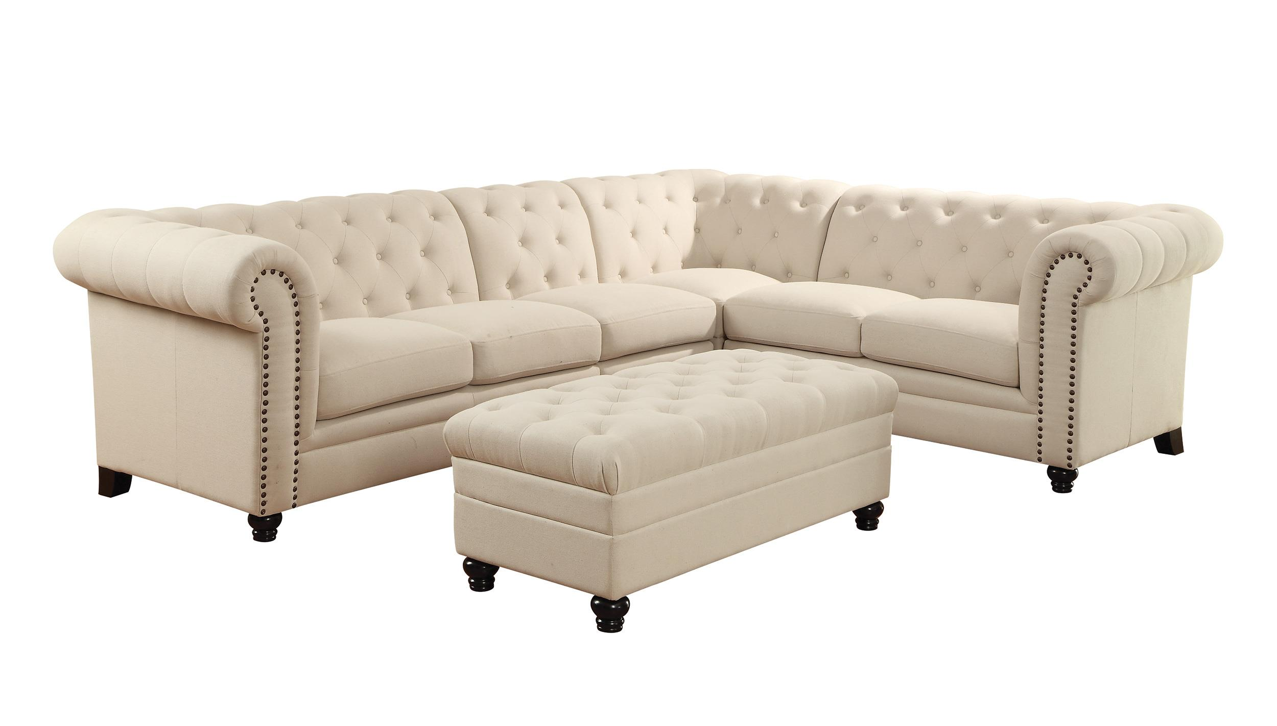 Coaster Roy Button Tufted Sectional Sofa with Armless Chair Del