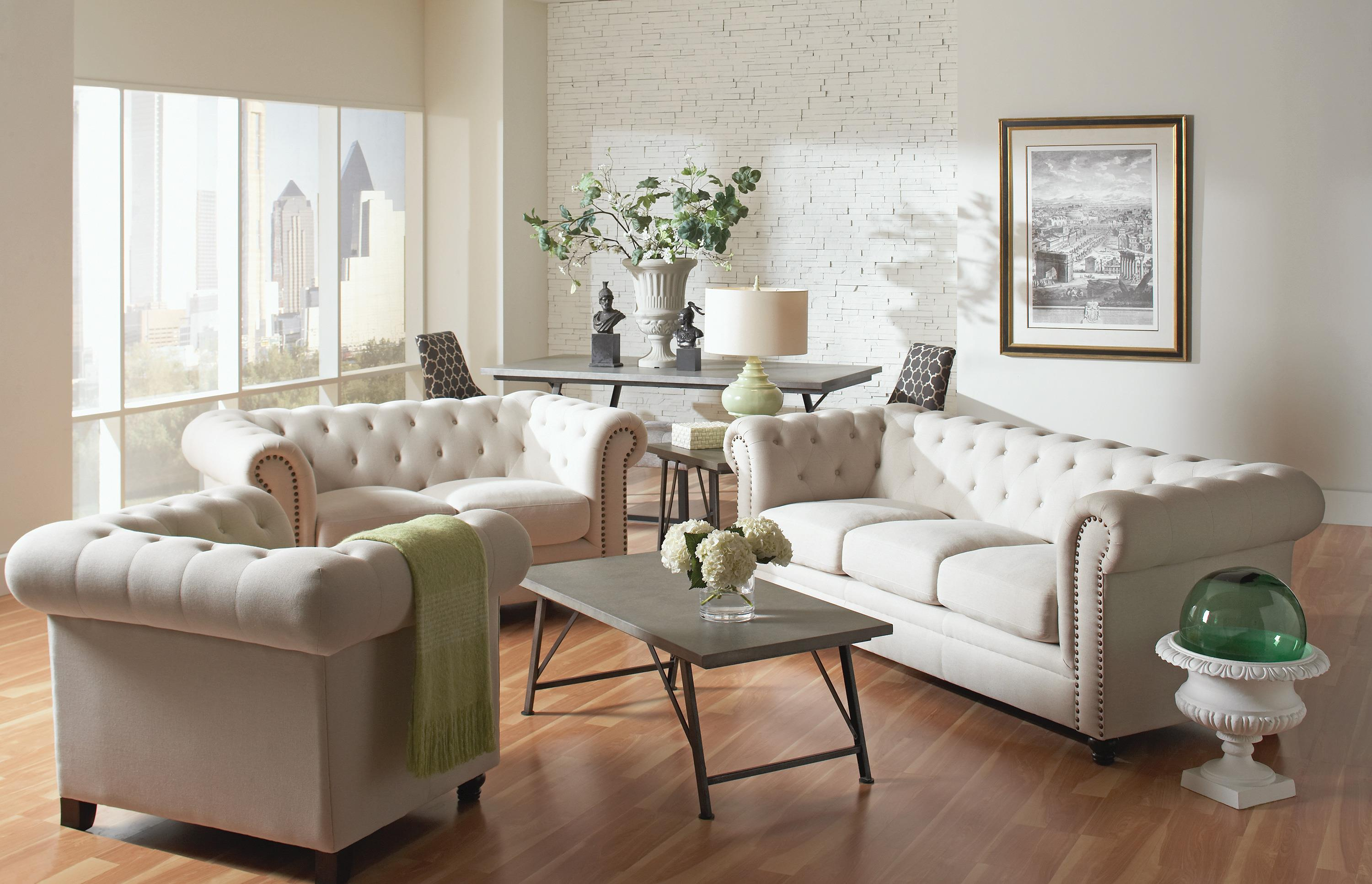 Coaster Roy 504554 Traditional Button Tufted Sofa With