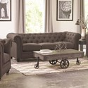 Coaster Roy Traditional Button-Tufted Sofa with Rolled Back and Arms