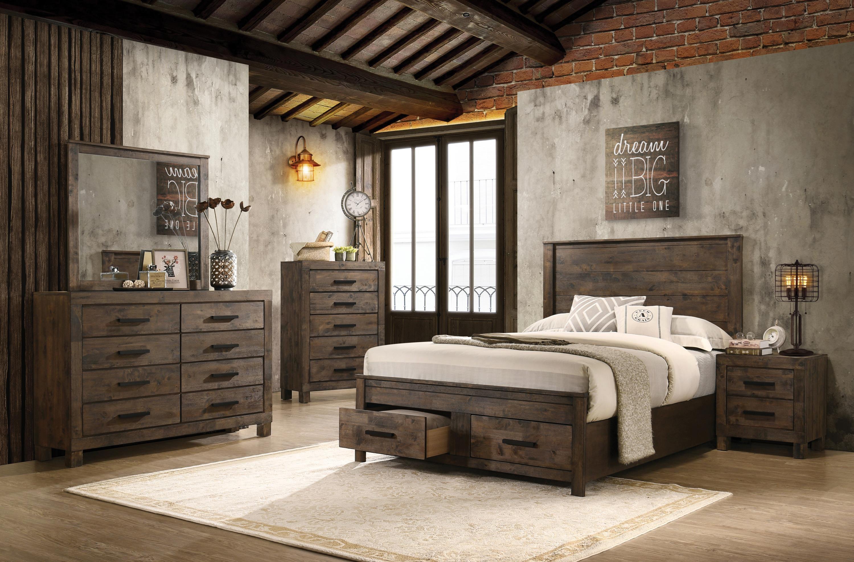 coaster rustic brown 222631keb24 5 piece king bedroom