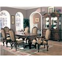 Coaster Saint Charles Dining Arm Chair with Upholstered Seat and Seat Back - 100133 - Shown with Dining Table, Arm Chairs, Buffet and Hutch