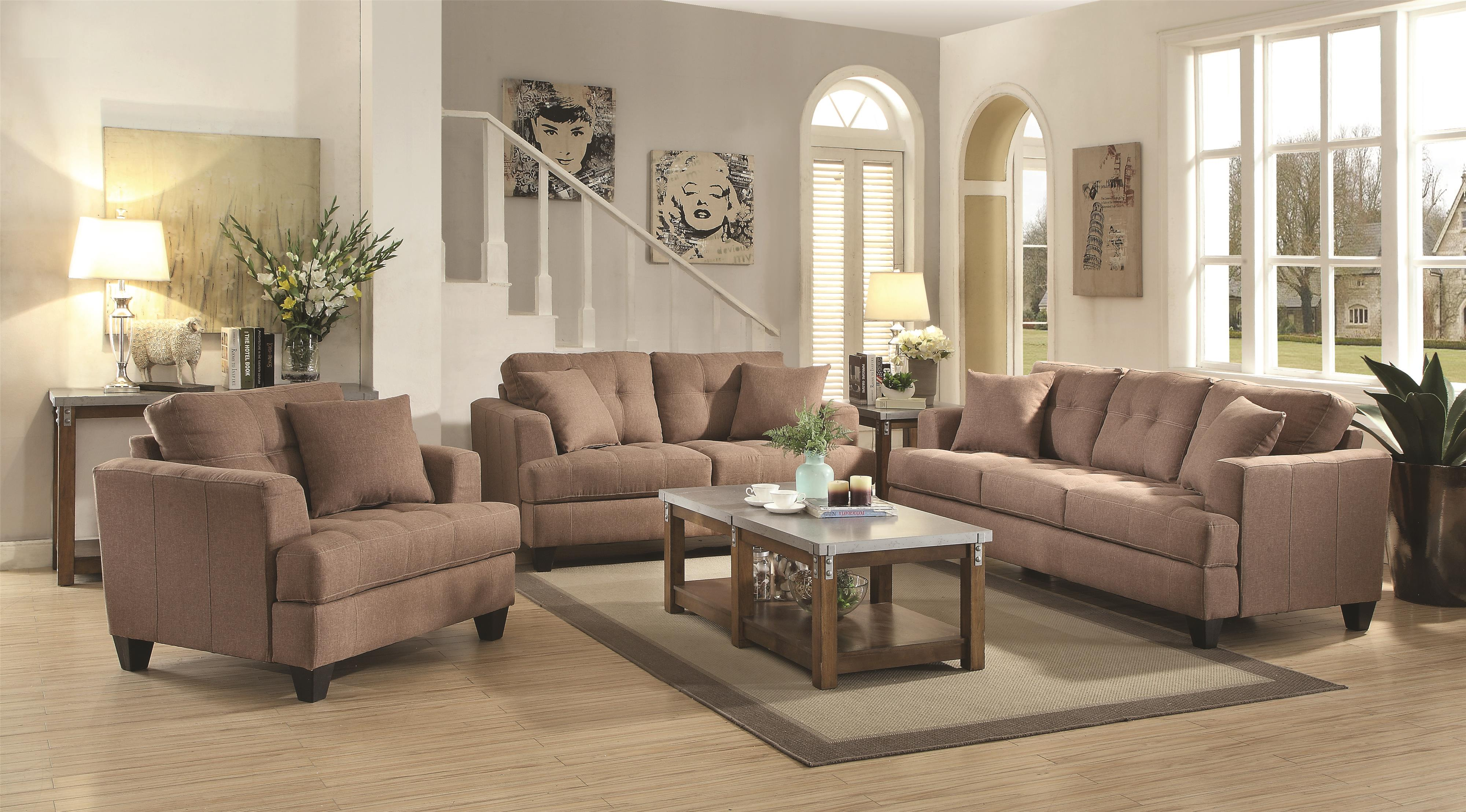 Coaster Samuel Sofa Stationary Living Room Group - Item Number: 505171 Living Room Group 1