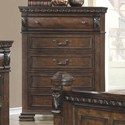 Coaster Satterfield 5 Drawer Chest in Warm Bourbon Finish