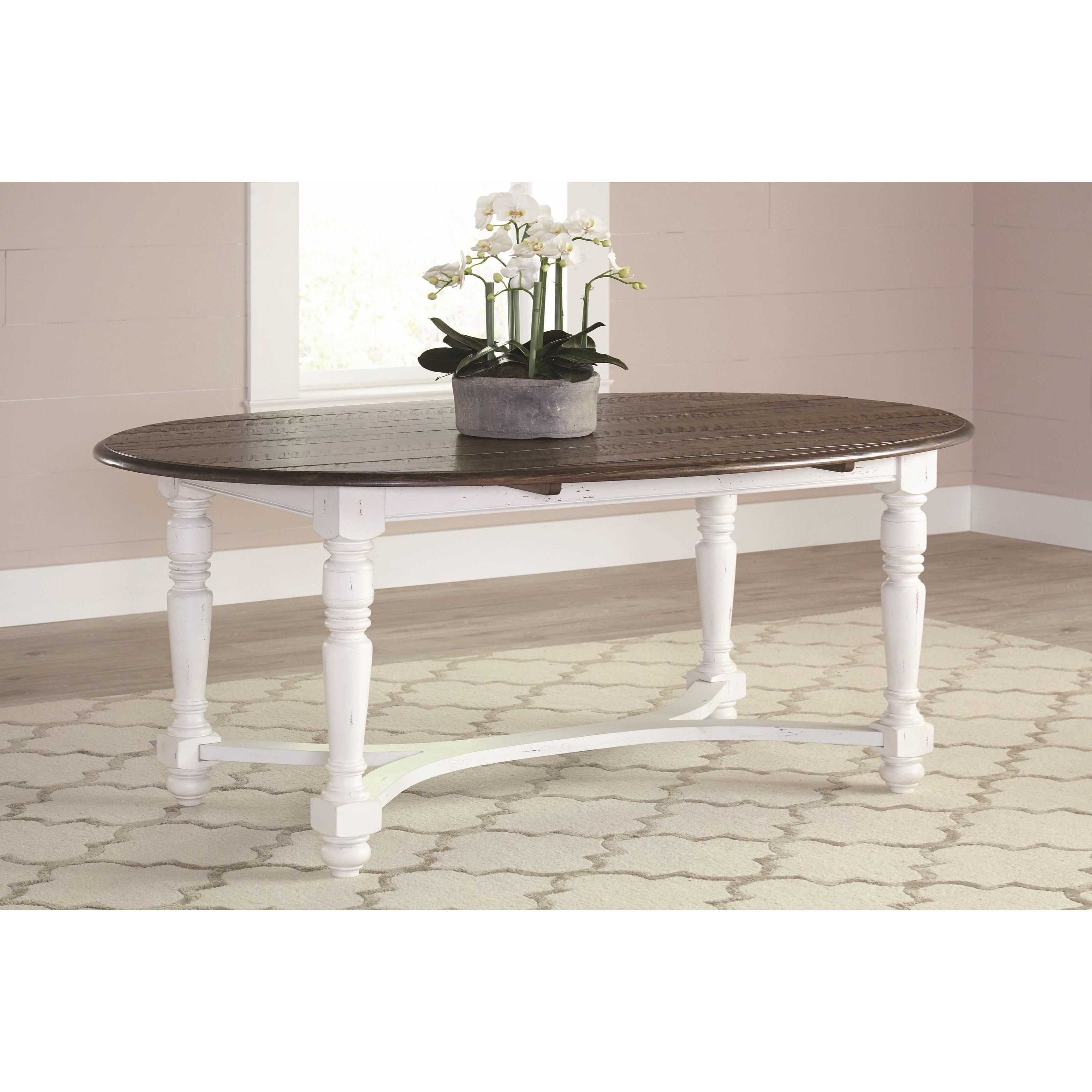 English Row - White Oval Dining Table with Turned Legs ...