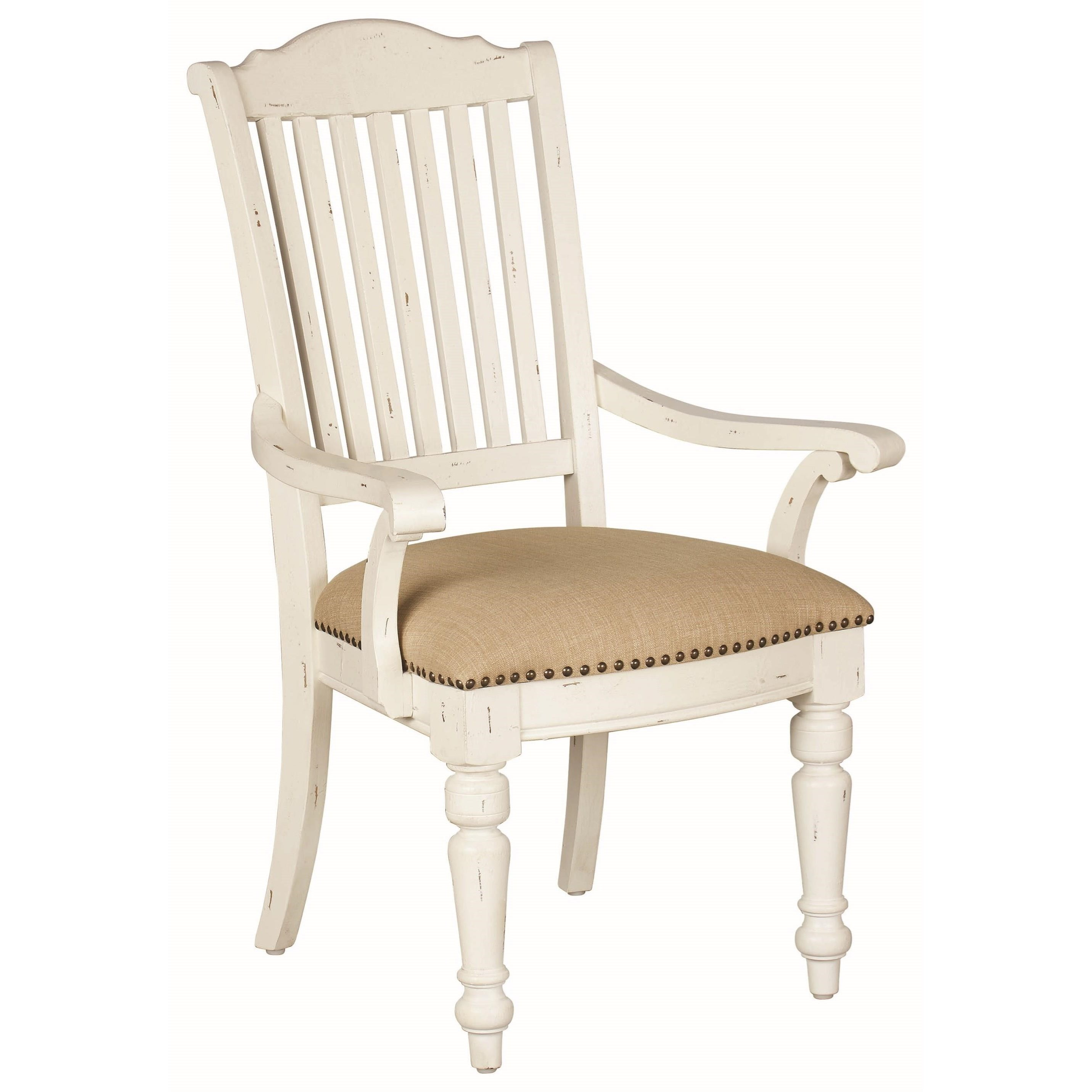 English Row White Upholstered Arm Chair With Nailhead