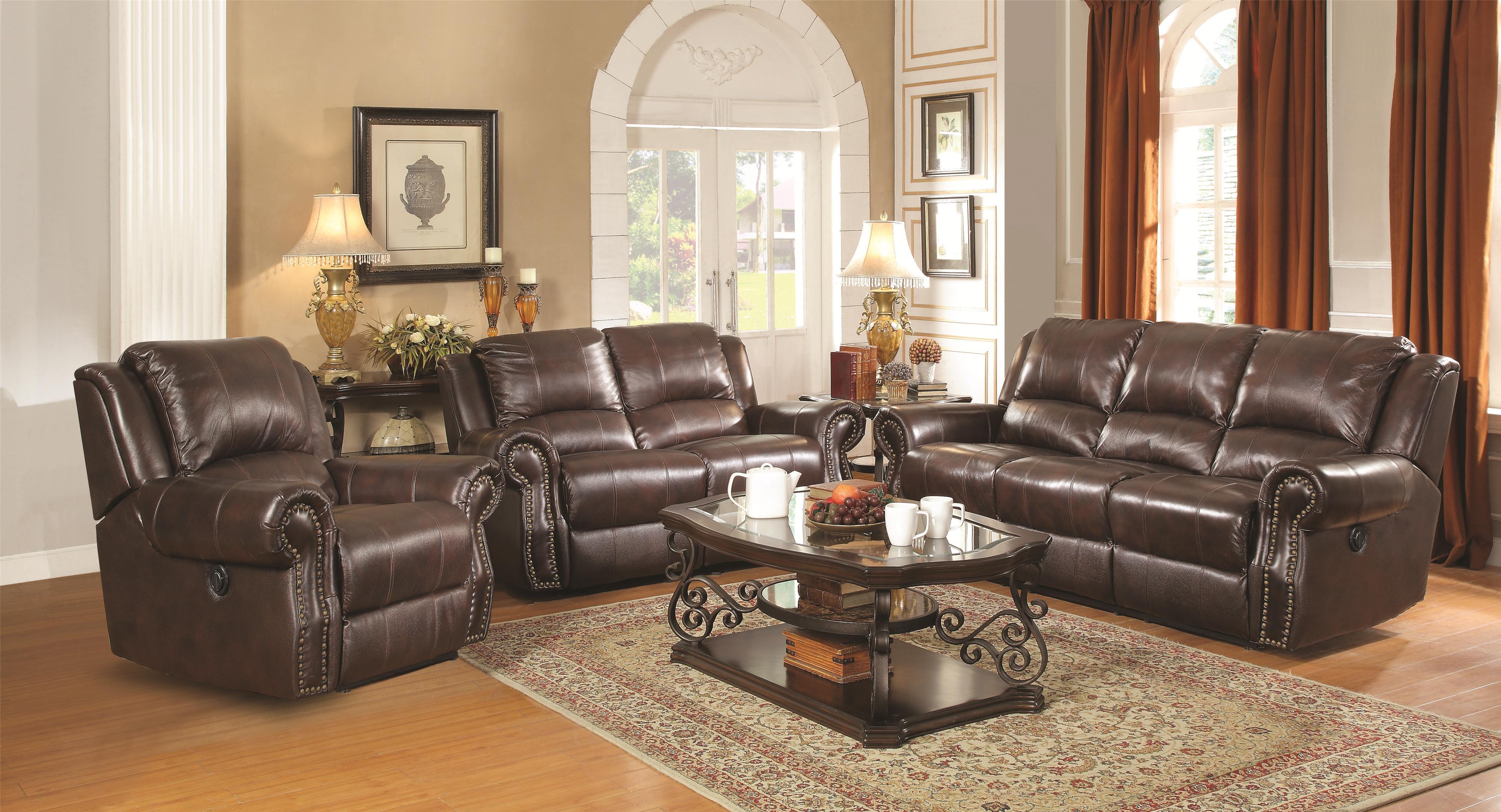 Coaster Sir Rawlinson Traditional Reclining Sofa With