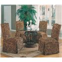 Coaster Slauson Upholstered Parson Chair with Nail Head Trim and Skirt - Shown with Glass Table