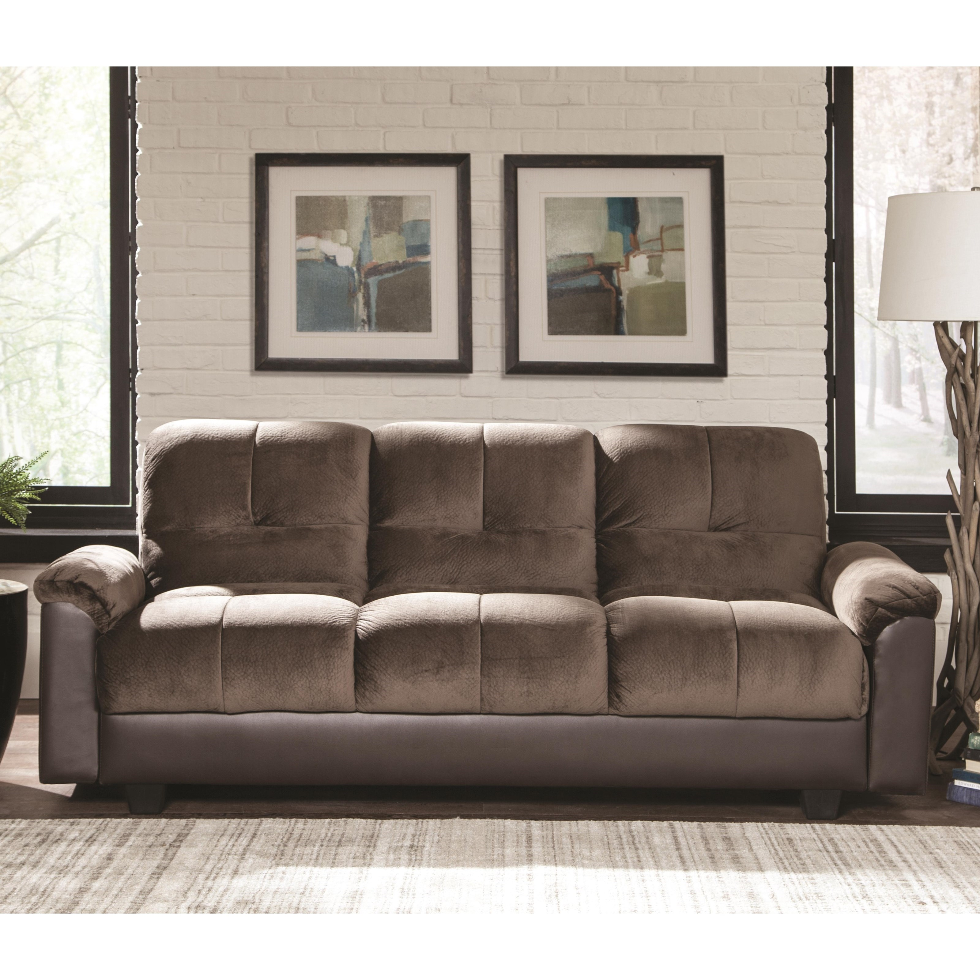 Coaster Sofa Beds And Futons 360007 Two Tone Sofa Bed With