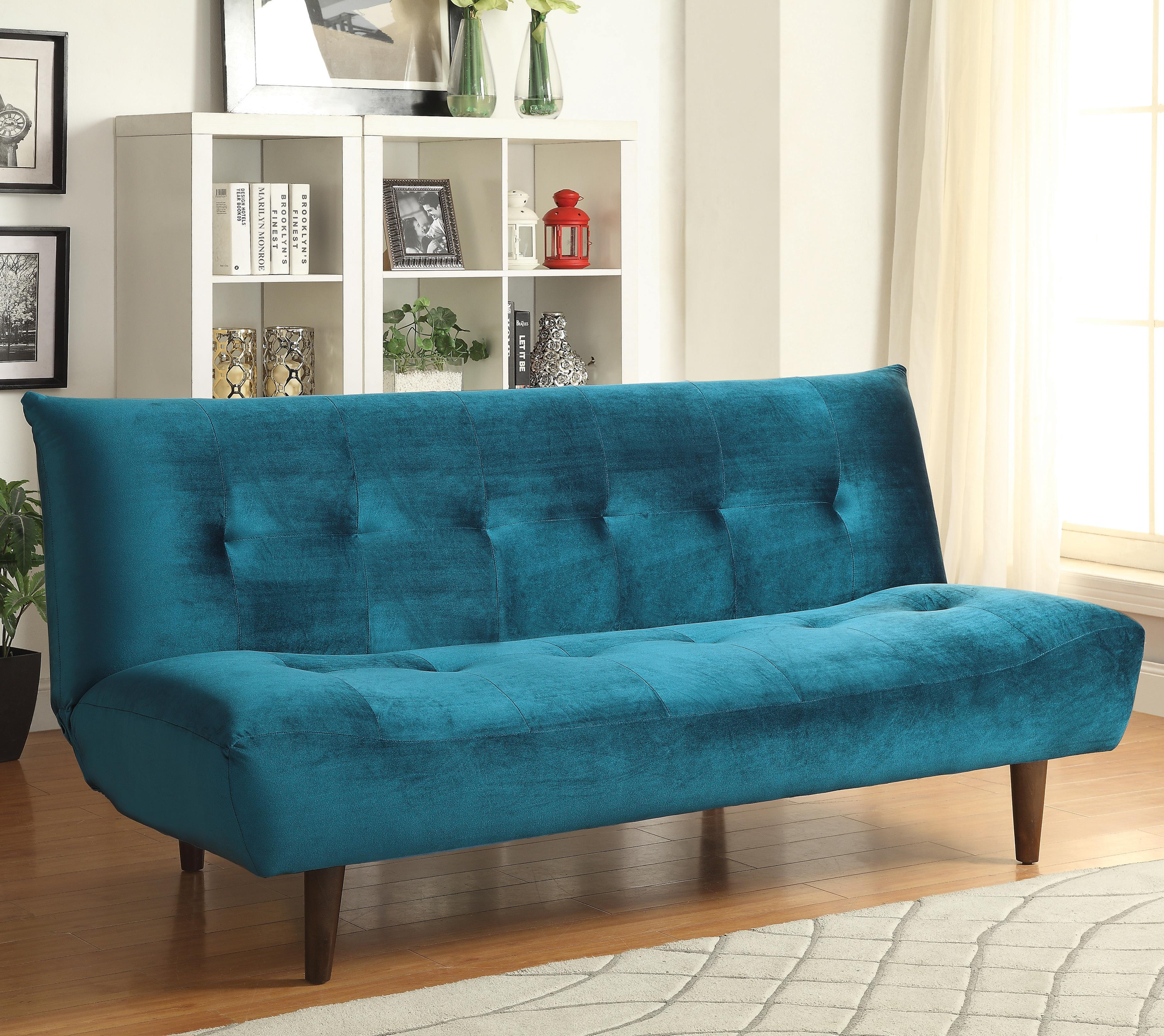 Sofa Beds And Futons Teal Velvet Sofa Bed With Solid Wood Legs Tufted Back By Coaster At Value City Furniture
