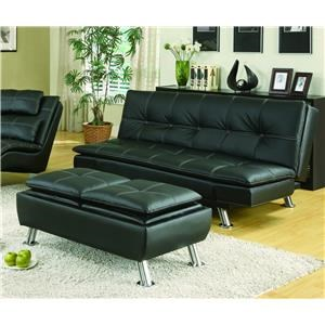 Coaster Sofa Beds and Futons 300281+300283 Black Sofa Bed & Ottoman ...