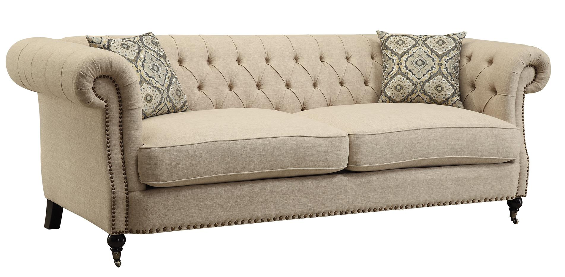 Coaster Trivellato 505821 Traditional Button Tufted Sofa With Large Rolled Arms And Nailheads