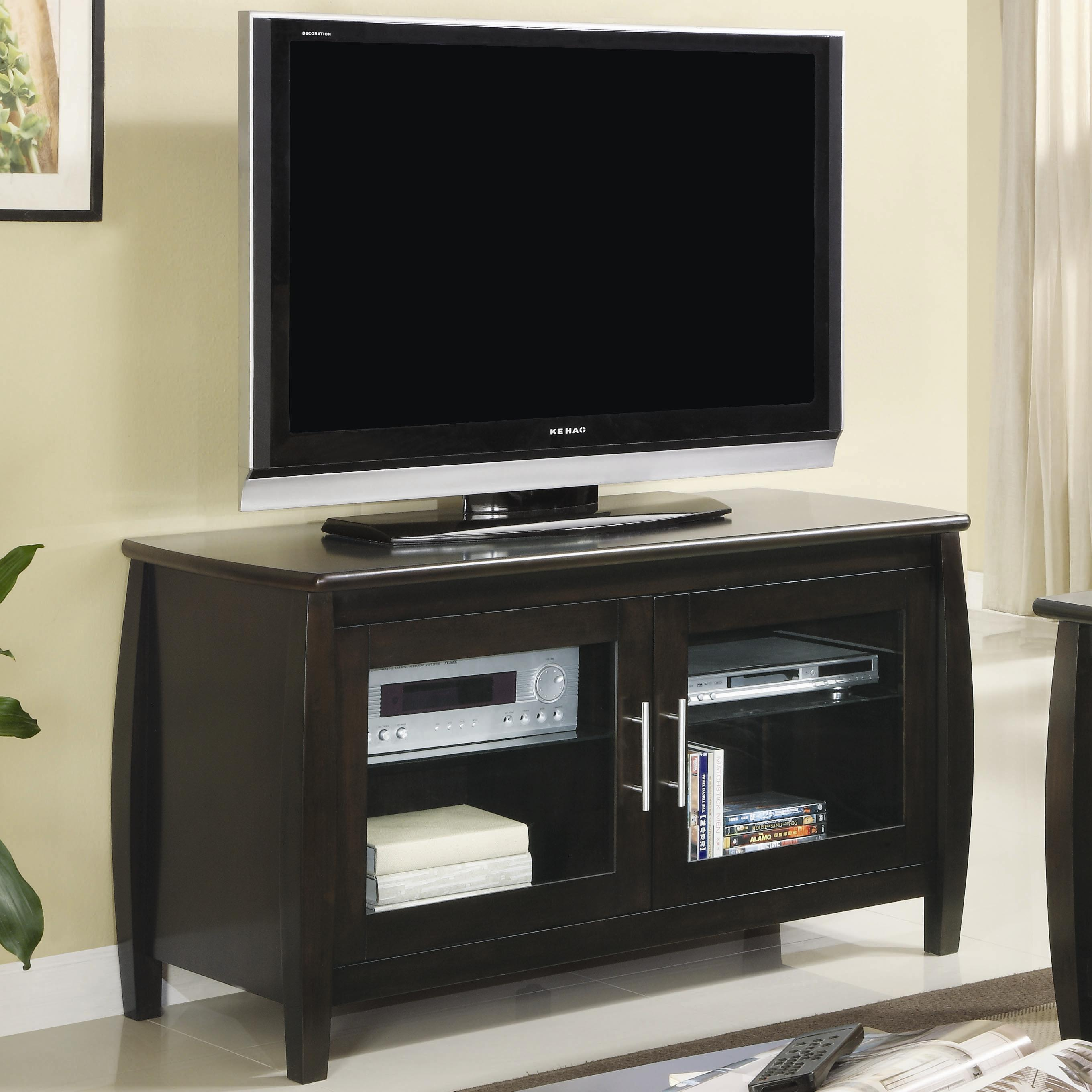 Coaster Tv Stands Contemporary Media Console With Glass Doors Fmg