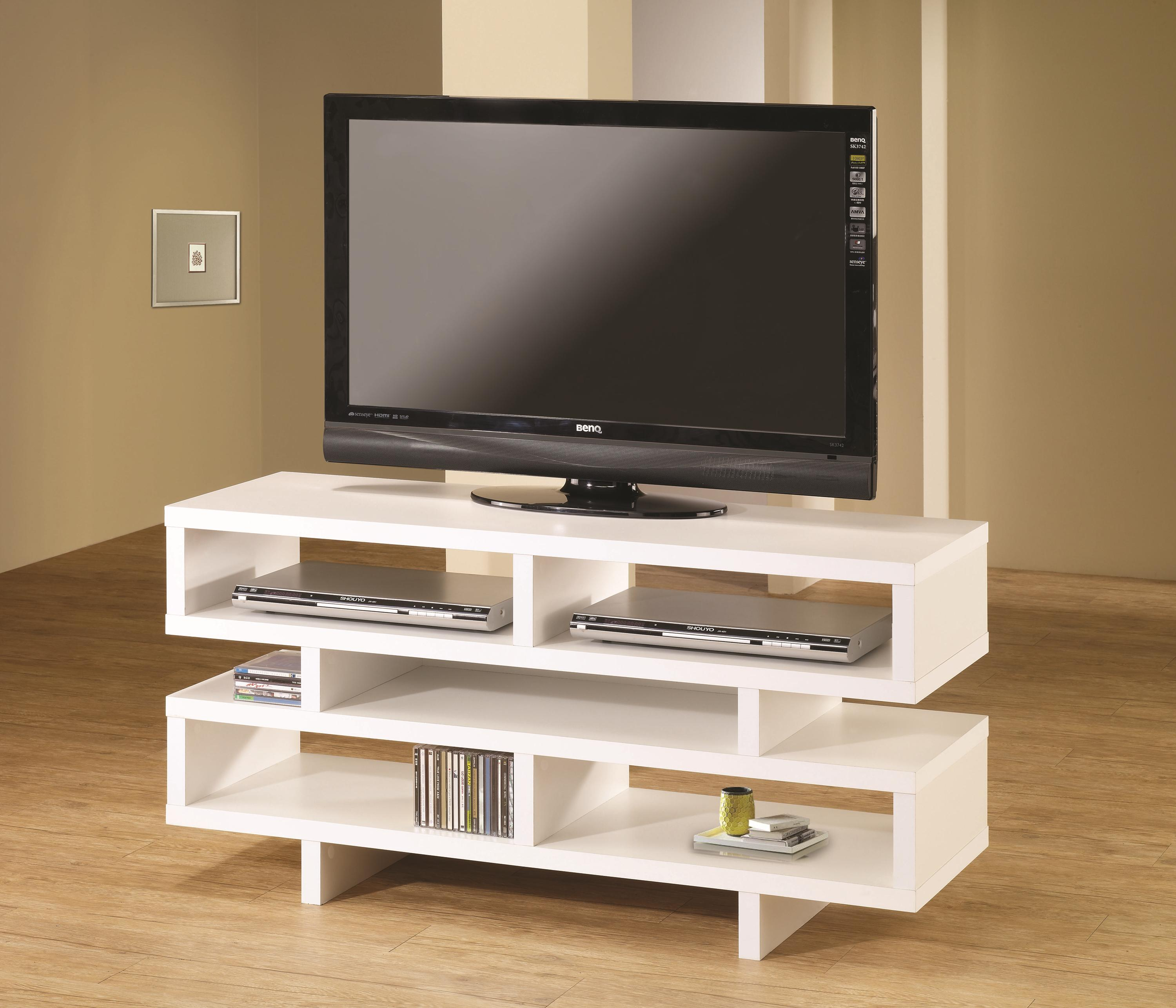 Coaster Tv Stands Contemporary Tv Console With Open Storage White