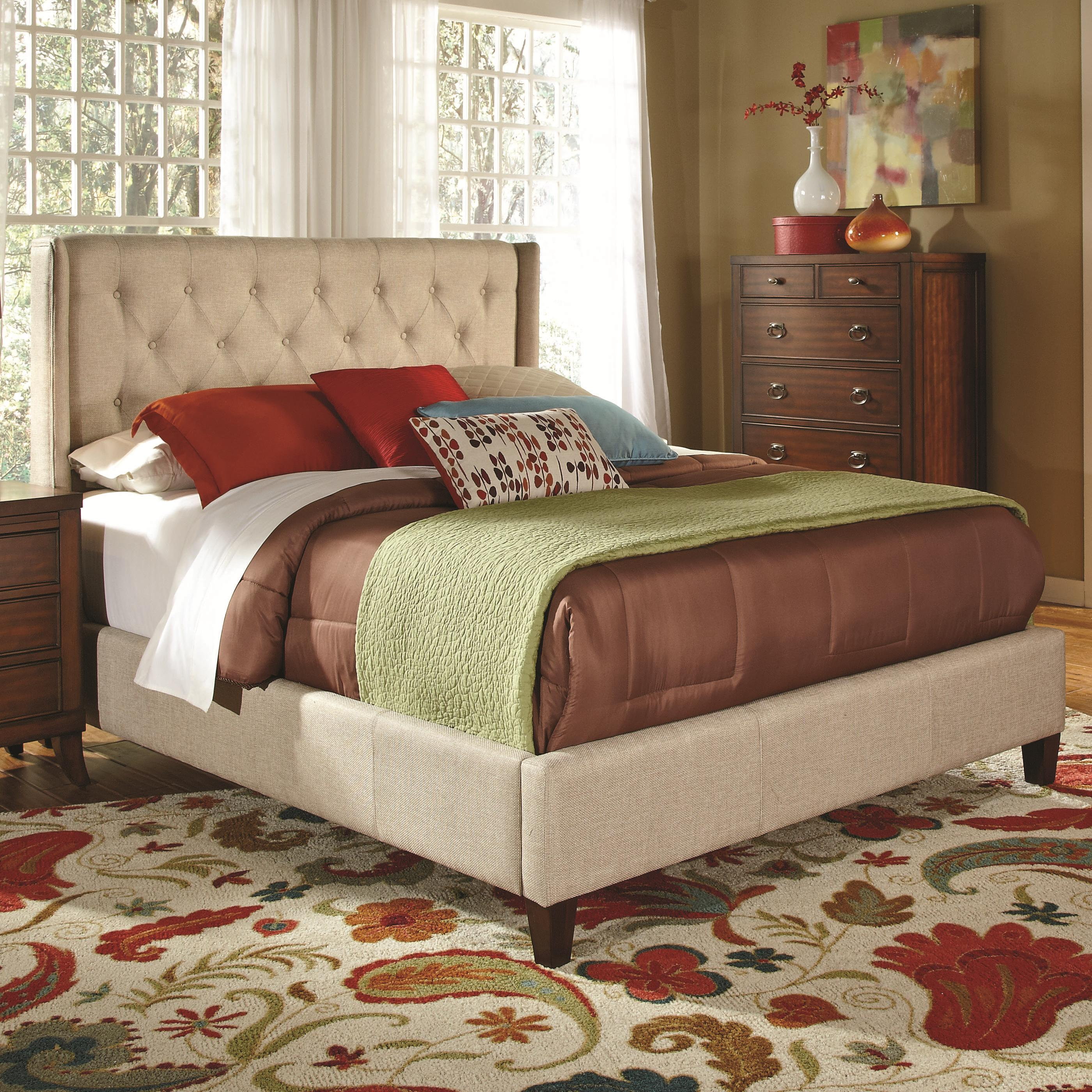 Coaster upholstered beds upholstered california king bed with tall tufted headboard