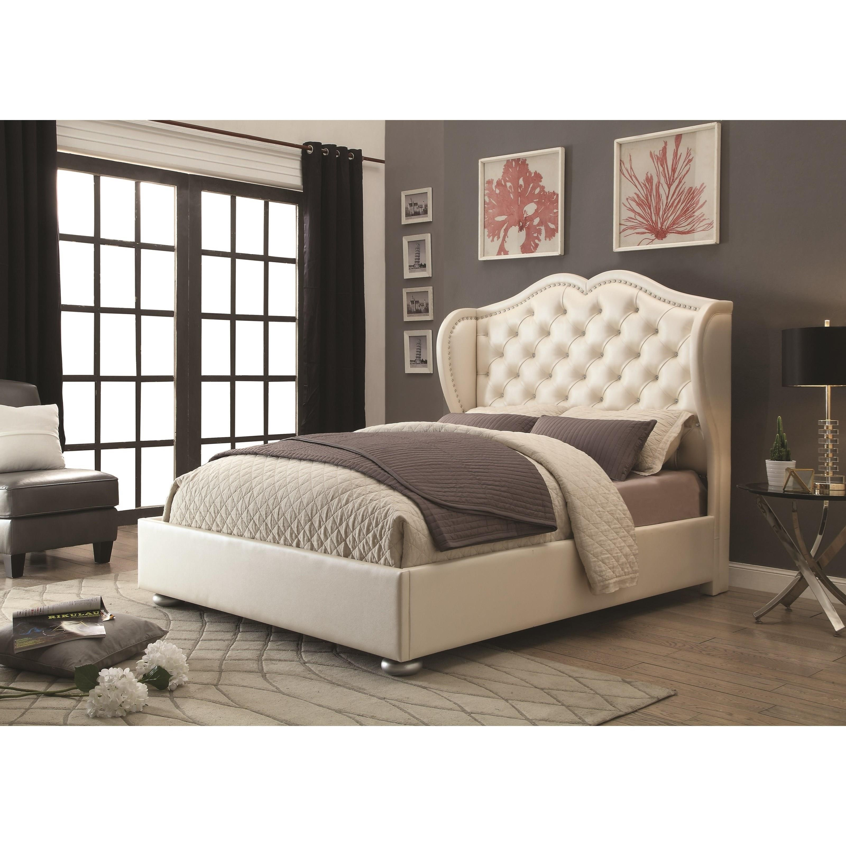 coaster upholstered beds queen bed item number 302011q - Coaster Bed Frame