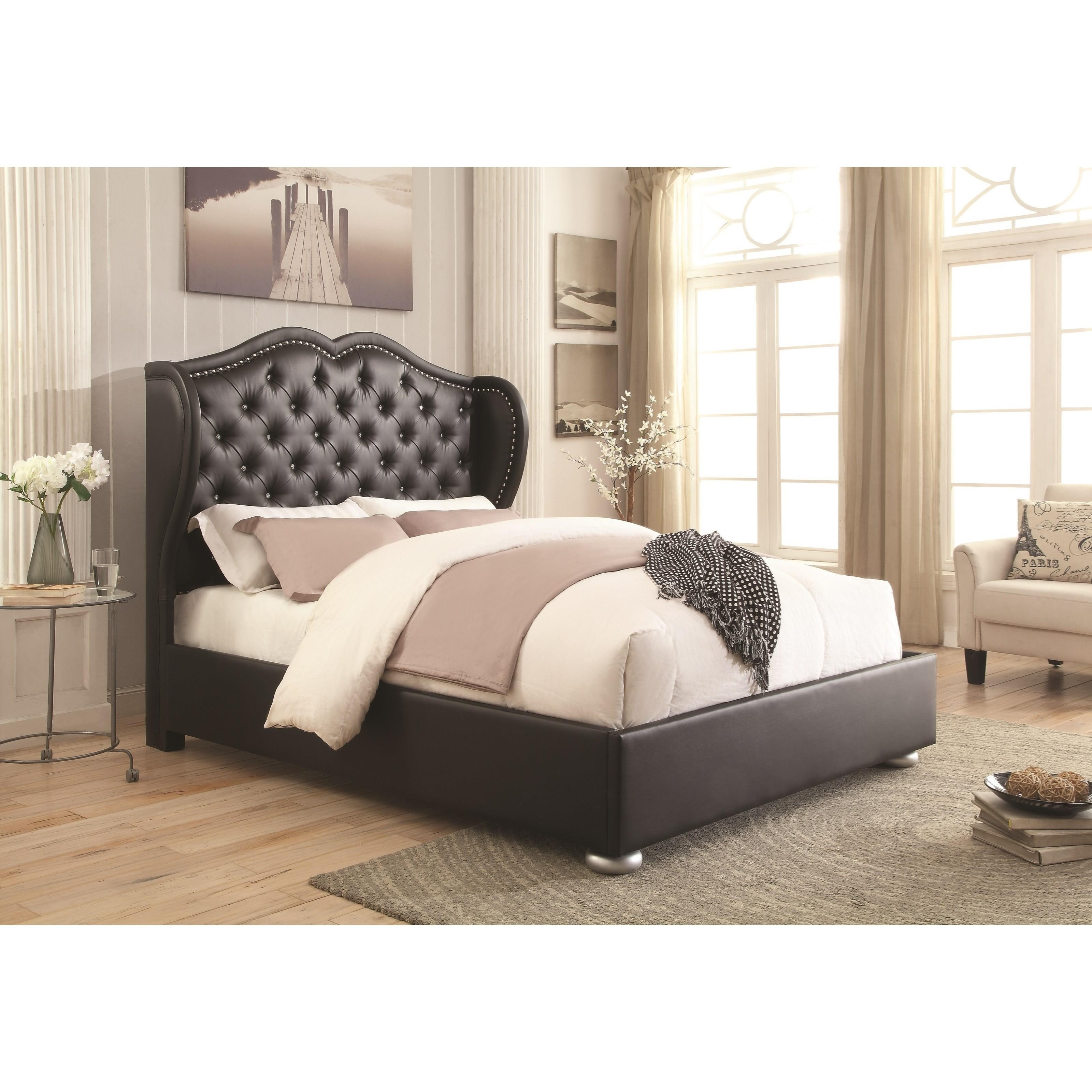 coaster upholstered beds wingback upholsted queen bed  del sol  - coaster upholstered beds queen bed  item number q