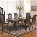 Coaster Valentina Traditional Dining Arm Chair with Fabric Seat Cushion and Faux Leather Back with Nailheads