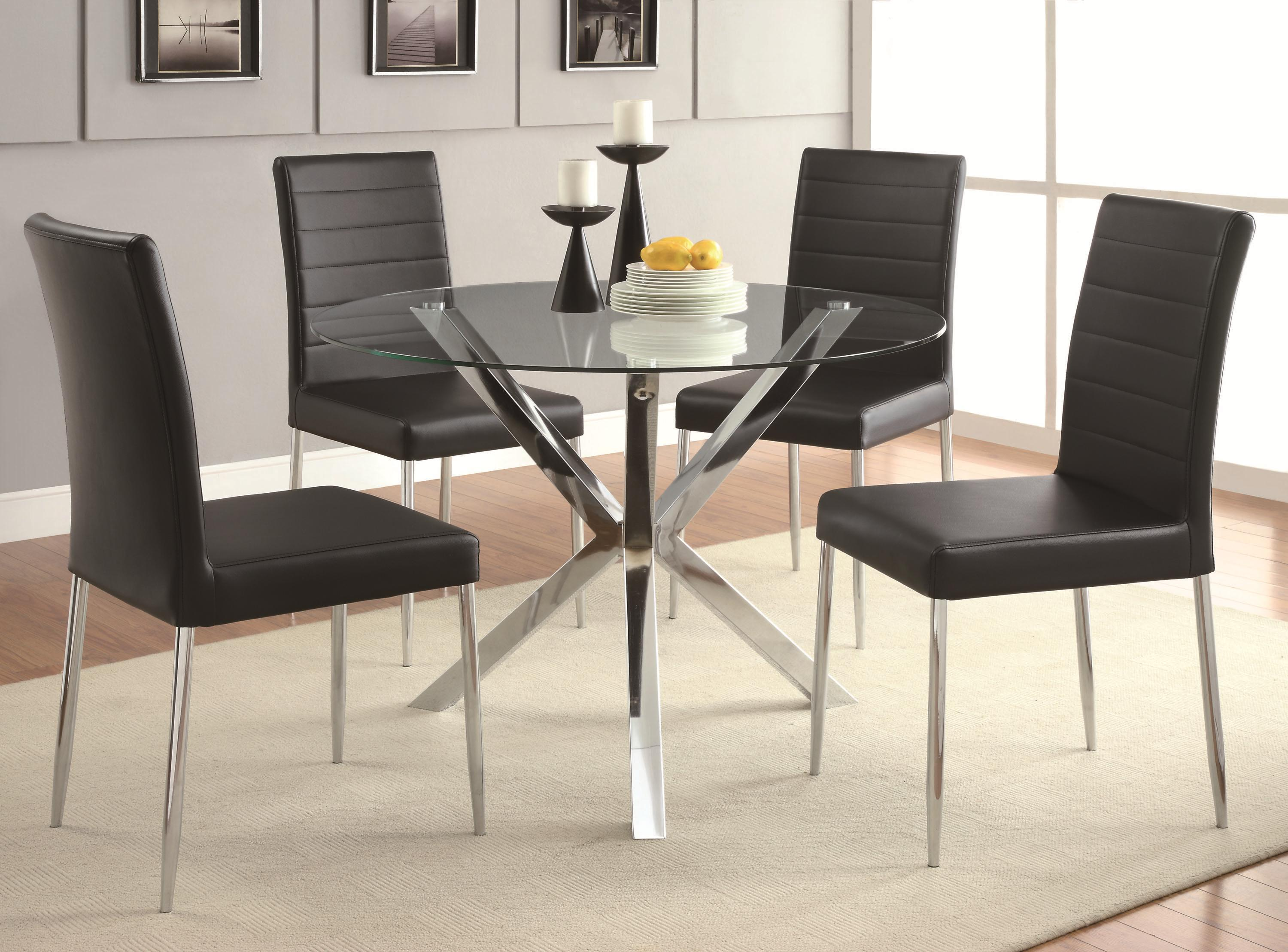 Coaster Vance 5-Piece Glass Top Table Set - Item Number: 120760+4x120767BLK