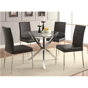 Coaster Vance 5-Piece Glass Top Table Set