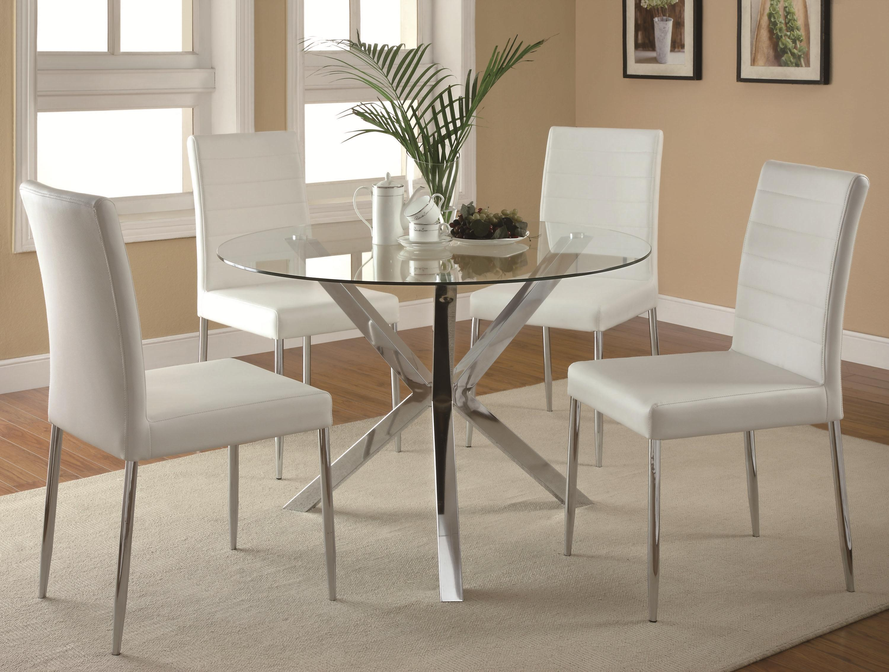 Coaster Vance 5-Piece Table \u0026 Chair Set - Item Number 120760+4x120767WHT & Coaster Vance Contemporary 5-Piece Glass Top Table and Chair Set ...