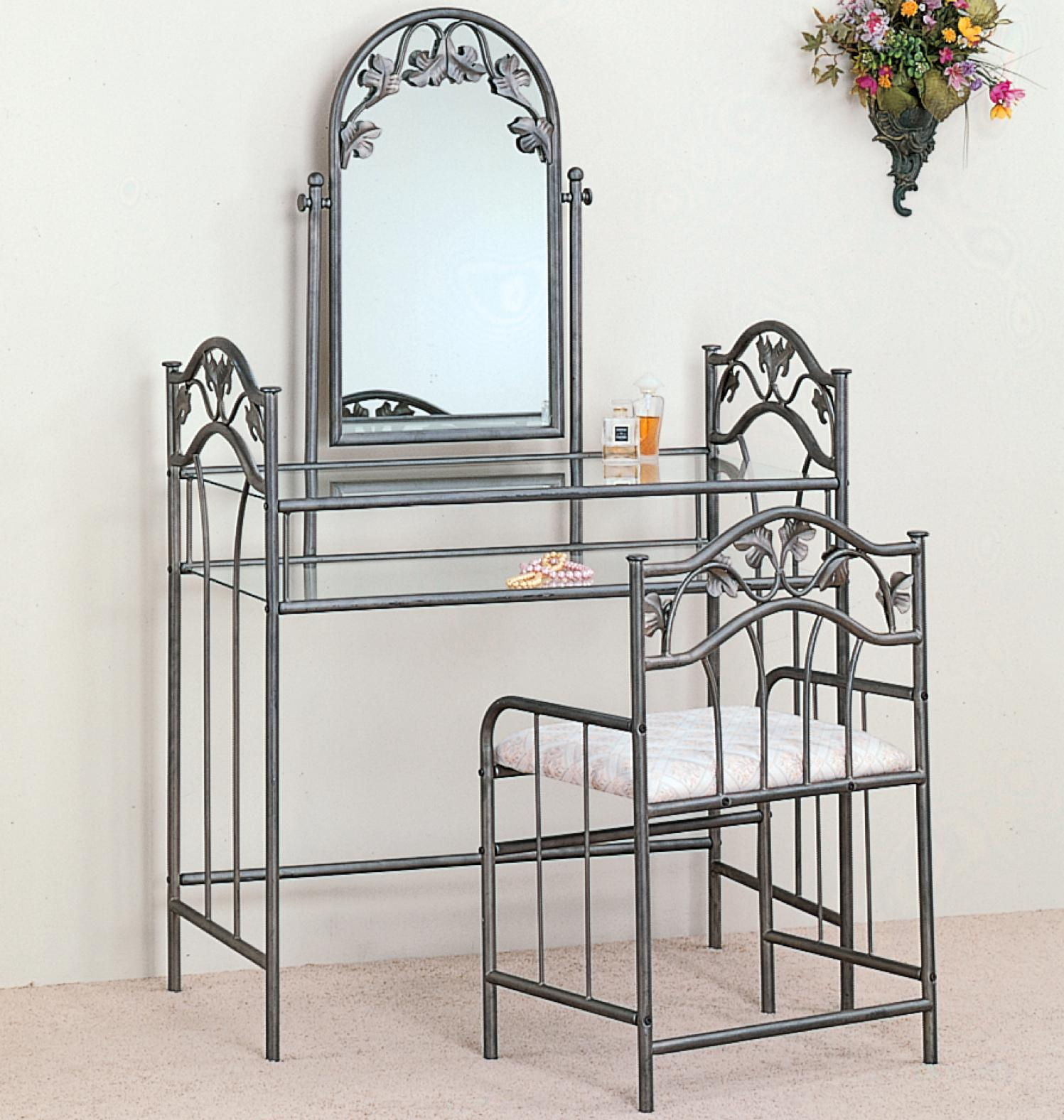 Coaster Vanities Casual Metal Vanity with Glass Top and ...