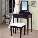 Coaster Vanities Contemporary Vanity and Stool with Fabric Seat