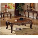 Coaster Venice Traditional Square End Table - Shown in Room Setting with Coffee Table and Sofa Table