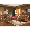 Coaster Victoria Button Tufted Love Seat - Shown in a Room Setting with Classic Rolled Arm Sofa