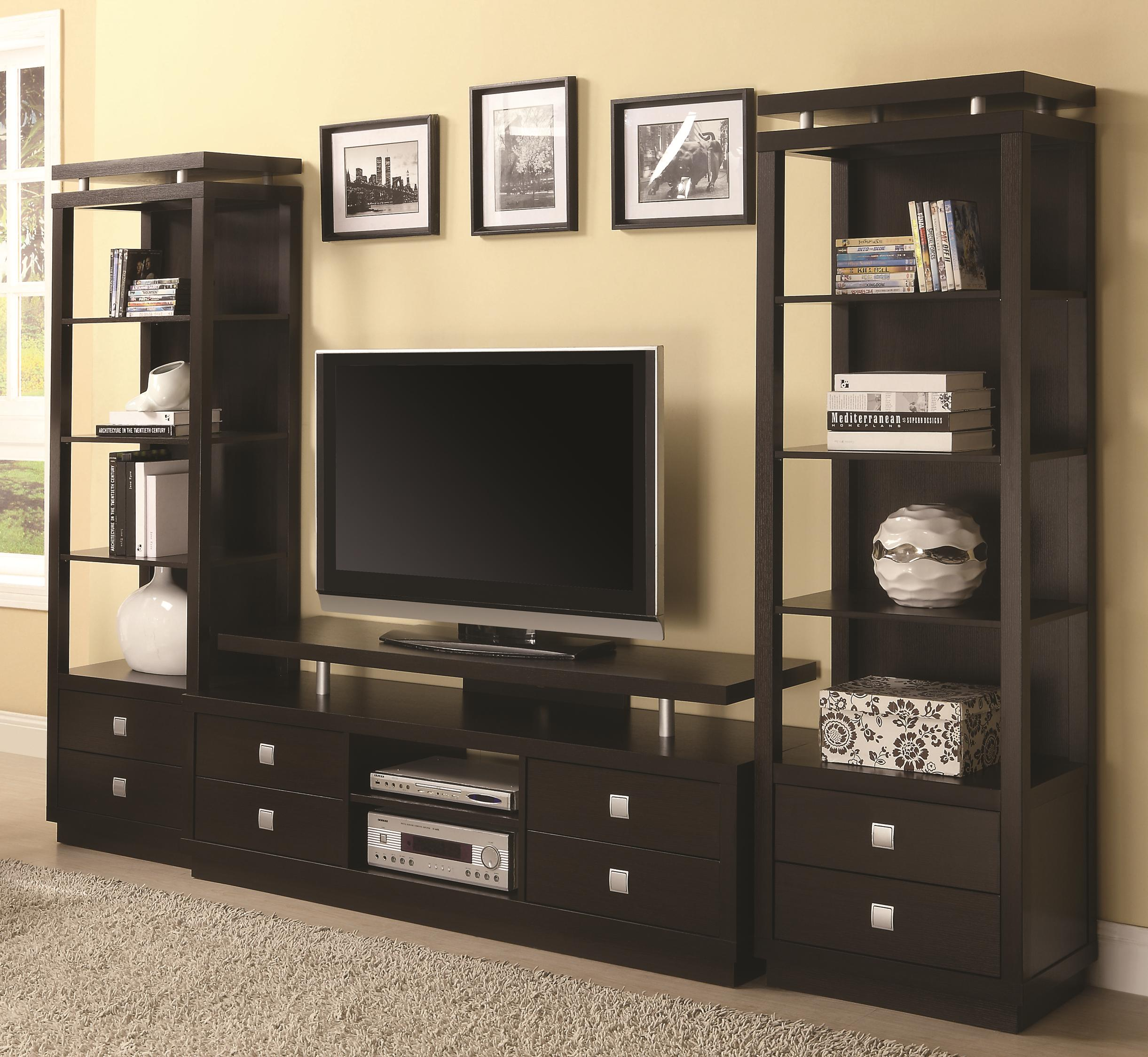 Coaster Entertainment Units TV Console & 2 Media Towers - Item Number: 700696+2x800354