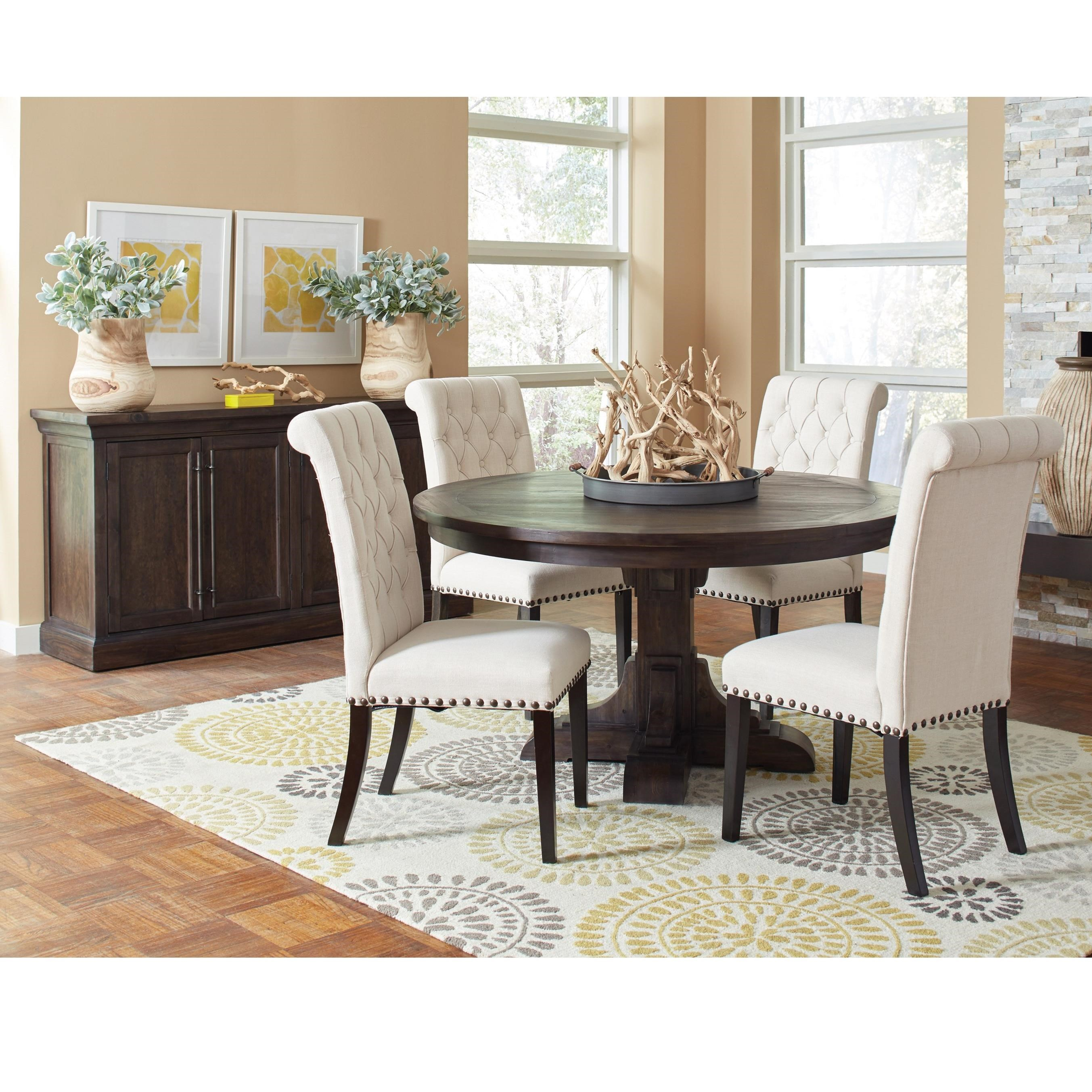 Coaster weber casual dining room group with cream for Casual dining room