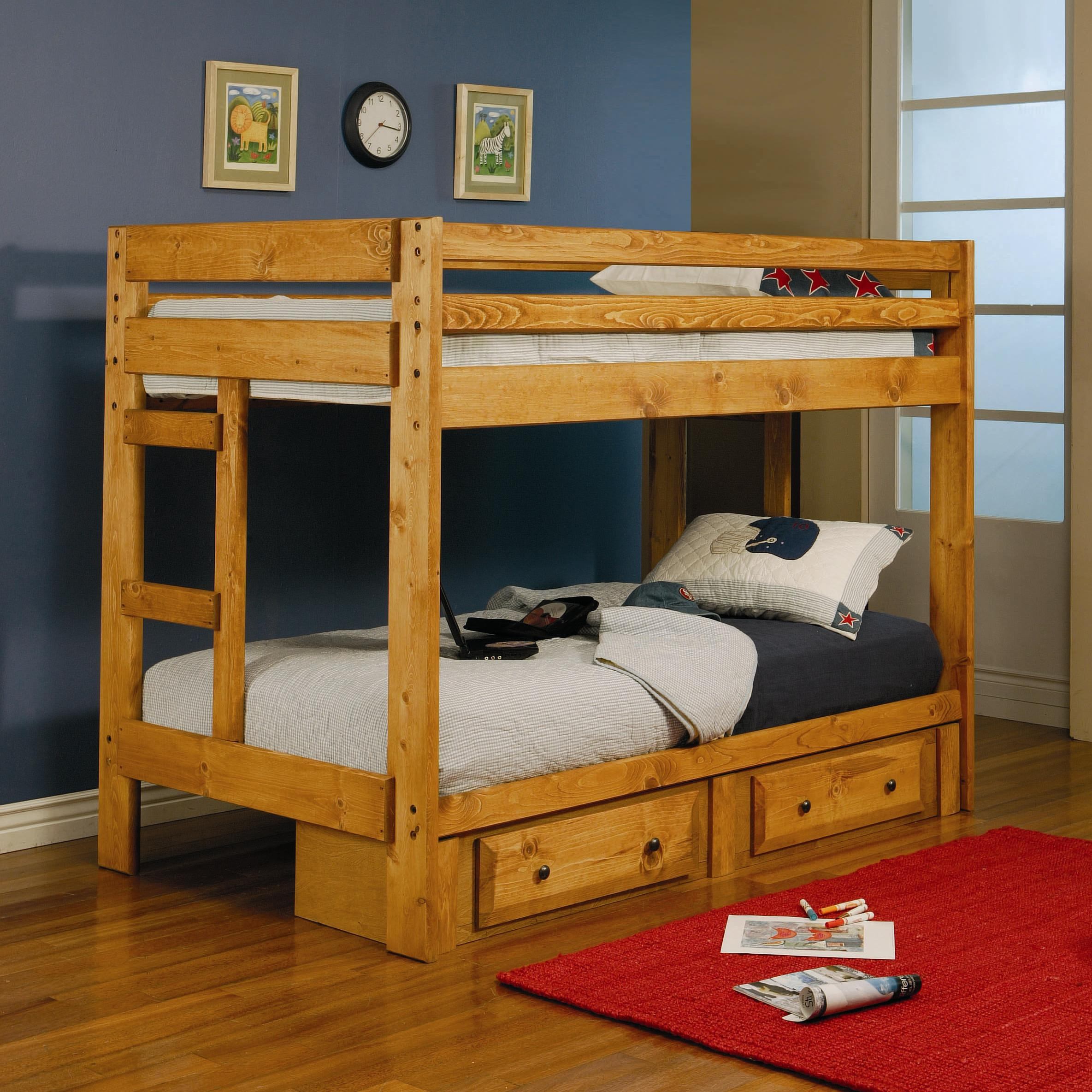 competitive price 536a7 5a693 Wrangle Hill Twin Over Twin Bunk Bed with Built-In Ladders by Coaster at  Value City Furniture