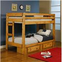 Coaster Wrangle Hill Twin Over Twin Bunk Bed with Built-In Ladders