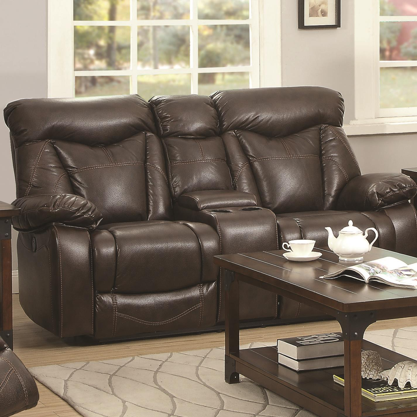 Coaster Zimmerman Power Reclining Love Seat - Item Number: 601712P-Breathable BrownLeatherette