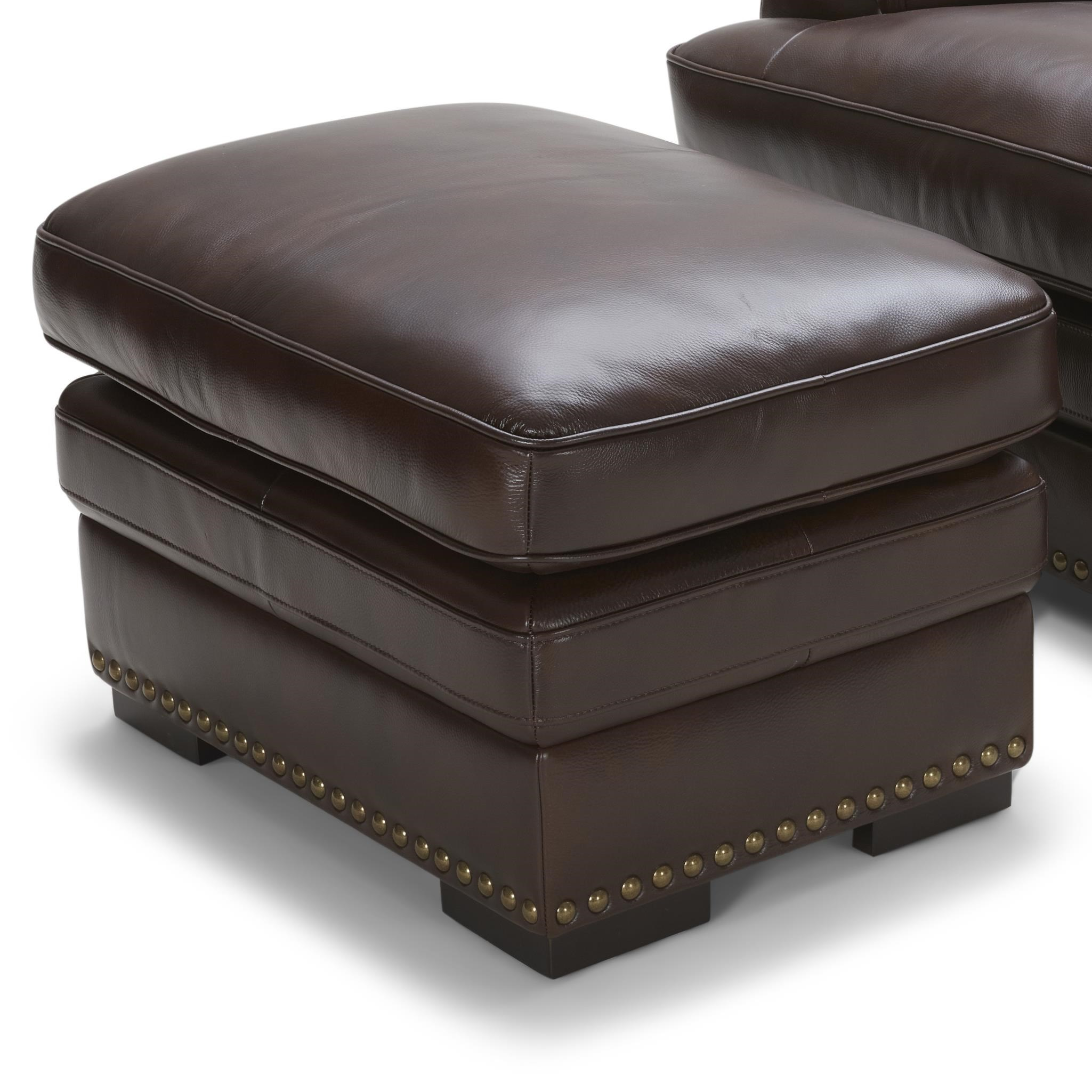 Brown Leather Ottoman