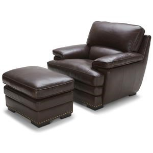 Warehouse M 3301 Brown Leather Chair & Ottoman