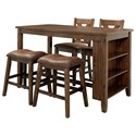 Benchcraft Chaleny 5-Piece Counter Table and Stool Set - Item Number: D392-42+2x024+2x124