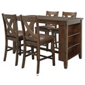 Benchcraft Chaleny 5-Piece Counter Table and Stool Set - Item Number: D392-42+4x124